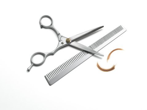 Cutting「Hairdresser scissors and comb on white background」:スマホ壁紙(13)