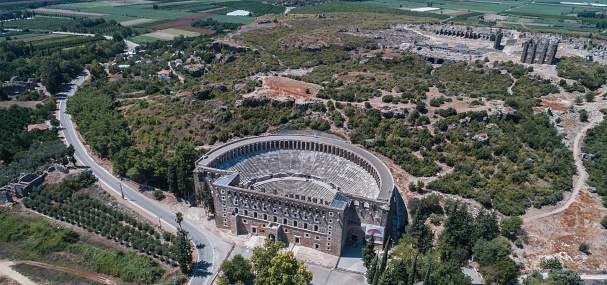Roman「Aspendos Ancient roman theater aerial view photography」:スマホ壁紙(9)