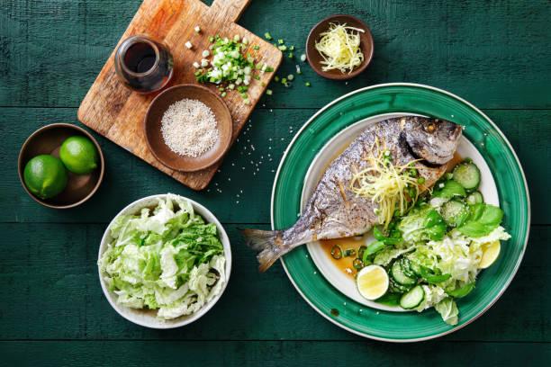 Grilled sea bream with vegetables:スマホ壁紙(壁紙.com)