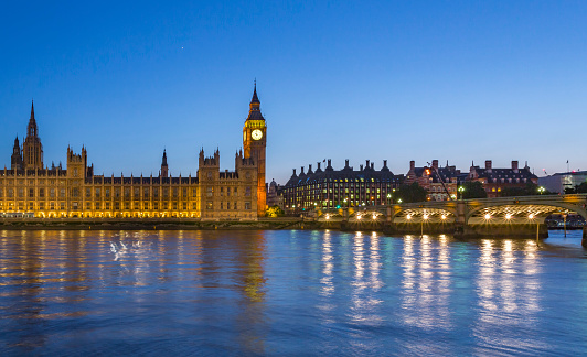 Election「Big Ben and Palace of Westminster across Thames River at twilight」:スマホ壁紙(14)
