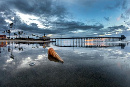 cloud「Shell on beach during sunrise at Newport Pier, Newport Beach, USA」:スマホ壁紙(14)