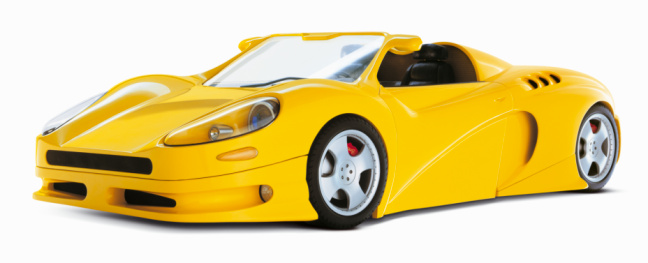 Convertible「Yellow sports car on white background」:スマホ壁紙(16)