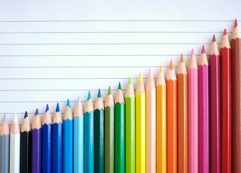 Economy「Bar Chart Graph Rainbow Colored Pencils Showing Result of Success」:スマホ壁紙(8)