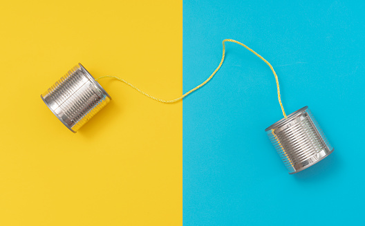 Communication「Tin can phone on yellow and blue paper backgrounds」:スマホ壁紙(9)