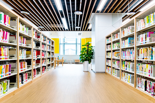 Literature「Bookshelves in modern public library」:スマホ壁紙(0)