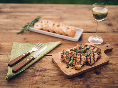 Char-Grilled「pork fillets, baguette and white wine for a summer snack」:スマホ壁紙(7)
