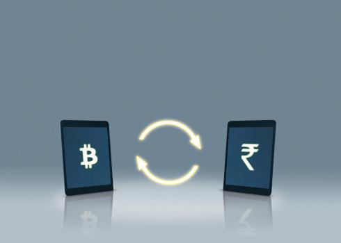 Bitcoin「Bitcoin and rupee symbols on tablets」:スマホ壁紙(11)