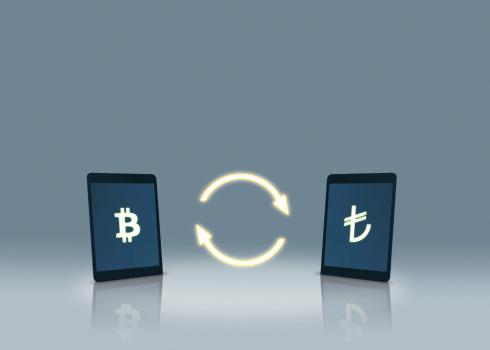 Bitcoin「Bitcoin and Turkish lira symbols on tablets」:スマホ壁紙(13)