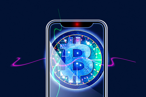 Cryptocurrency「Bitcoin and iPhone」:スマホ壁紙(6)