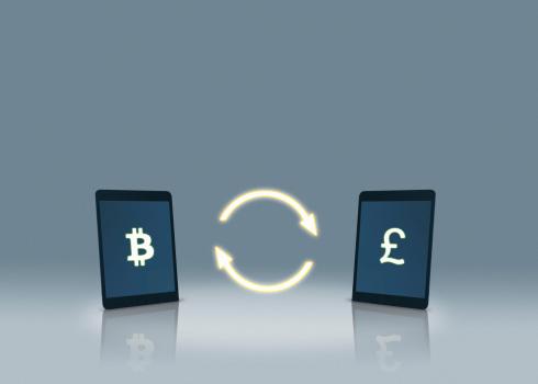 Bitcoin「Bitcoin and pound symbols on tablets」:スマホ壁紙(12)