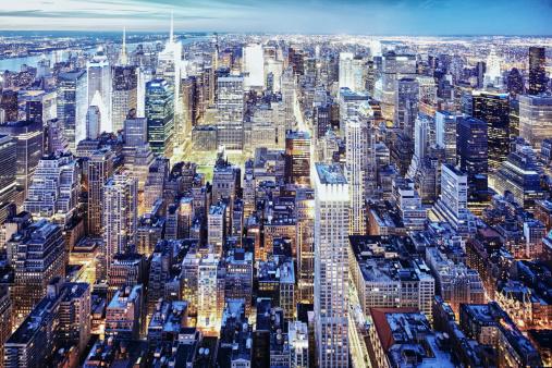 Urban Skyline「New York nighttime skyline」:スマホ壁紙(3)