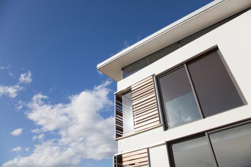 Corner「Low angle view of wood shutters on modern house」:スマホ壁紙(15)