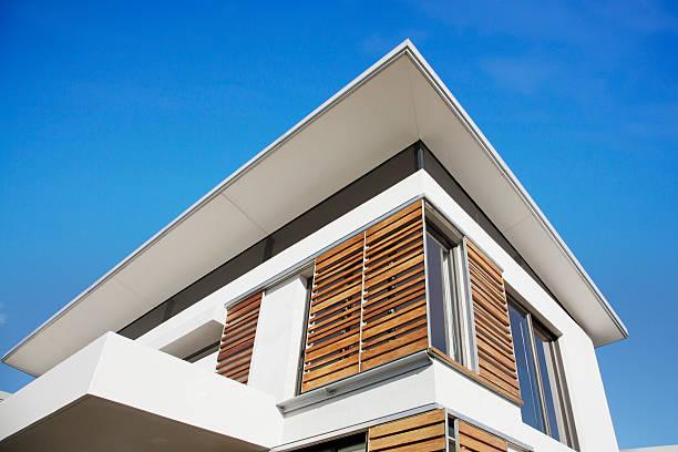 Low angle view of wood shutters on modern house:スマホ壁紙(壁紙.com)