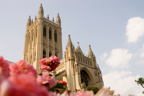 Focus On Background「Low angle view of a cathedral, National Cathedral, Washington DC, USA」:スマホ壁紙(4)