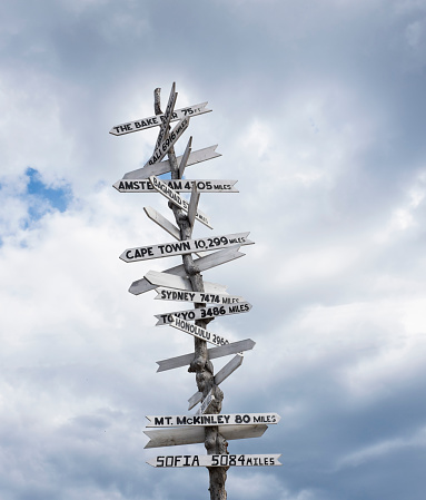 Anchorage - Alaska「Low angle view of sign post against cloudy sky」:スマホ壁紙(9)