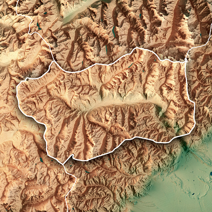 Pennine Alps「Aosta Valley State Italy 3D Render Topographic Map Border」:スマホ壁紙(9)