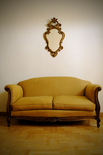 Floral Pattern「Vintage Yellow Sofa and Gold Mirror」:スマホ壁紙(8)