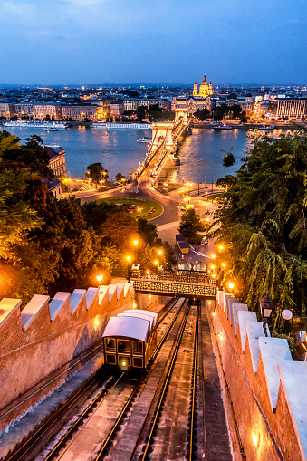 Overhead Cable Car「chain bridge budapest hungary dusk vertical stephen's basilica funicular Sikló」:スマホ壁紙(15)