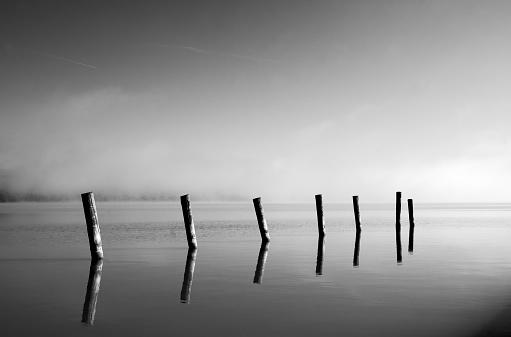 Lake Balaton「Row of pipes sticking out of water」:スマホ壁紙(14)