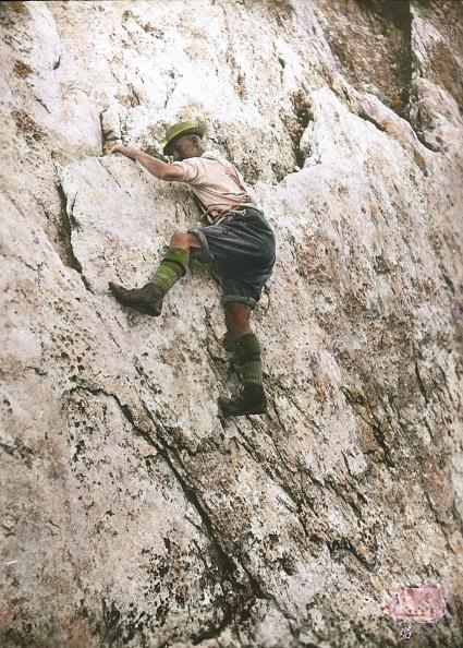 Dachstein Mountains「A man is climbing on the Dachstein. Salzkammergut. Hand-colored lantern slide. Around 1905.」:写真・画像(14)[壁紙.com]
