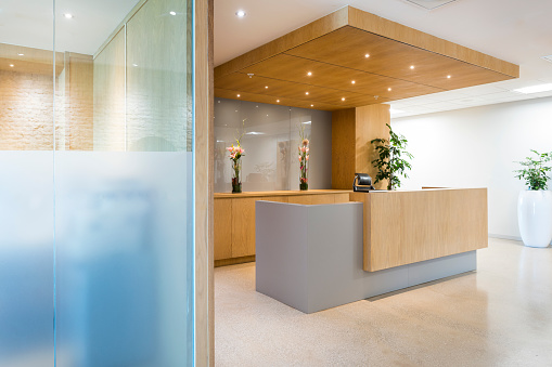 Wood Paneling「Modern reception in office or hotel. Empty space.」:スマホ壁紙(11)