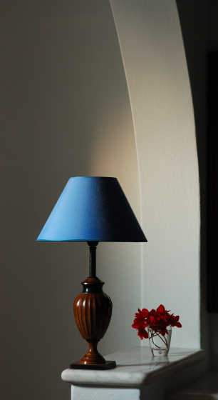 Lamp Shade「Blue Lampshade with Small Flower Bouquet Under Archway」:スマホ壁紙(2)