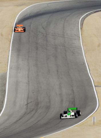 Motor Racing Track「Formula race cars on track, elevated view (Digital Enhancement)」:スマホ壁紙(11)
