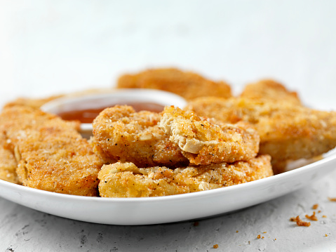 Sweet And Sour Dish「Vegan, Meatless-Plant Based Protein Chicken Strips with Dipping Sauce」:スマホ壁紙(1)