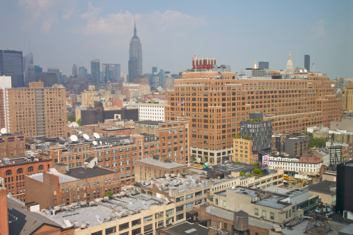 Meatpacking District「Red brick commercial buildings of West Chelsea converted into trendy retail stores, condominiums and office towers, with Empire State Building in distance, NY, NY, USA」:スマホ壁紙(7)