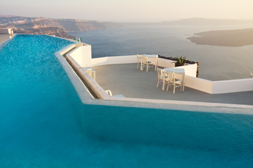 Aegean Sea「Swimming pool with sea view, Santorini, Greece」:スマホ壁紙(8)