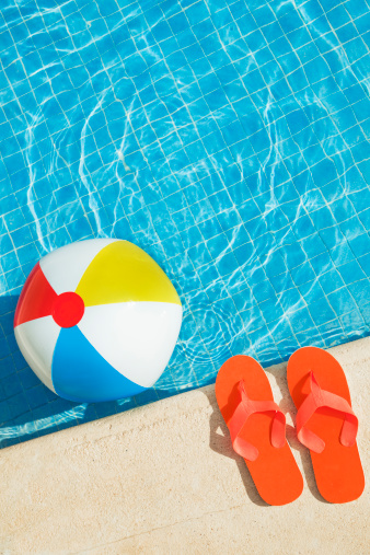 Sandal「Swimming Pool Summer Fun with Floating Beach Ball, Flip Flops」:スマホ壁紙(4)