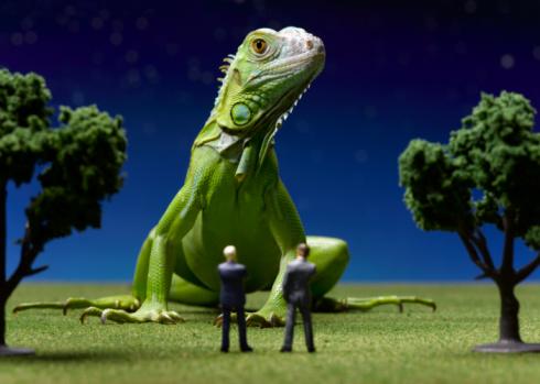 Green Iguana「Iguana confronting toy businessmen」:スマホ壁紙(4)