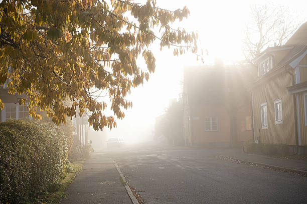 Morning haze in residential district:スマホ壁紙(壁紙.com)