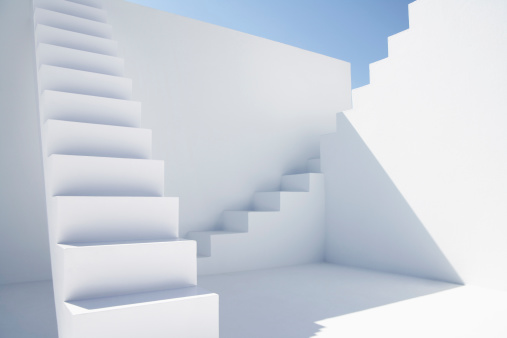 White Color「White modern stairs of corporate business against blue sky」:スマホ壁紙(1)