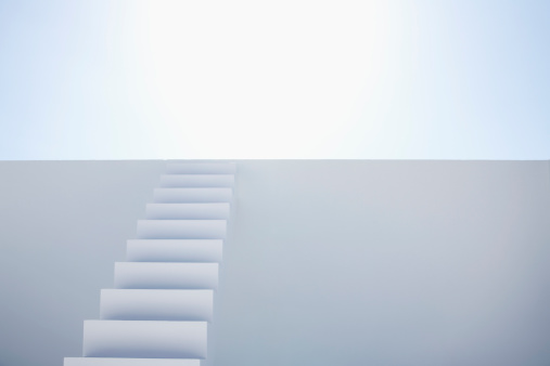 Steps and Staircases「White modern stairs of corporate business against blue sky」:スマホ壁紙(1)