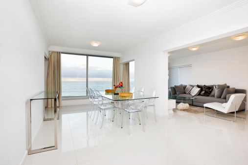 Domestic Room「White modern dining room and lounge with a scenic view」:スマホ壁紙(1)