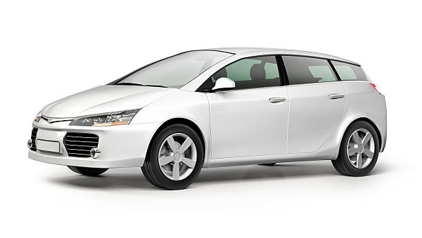 White modern compact car on white background:スマホ壁紙(壁紙.com)