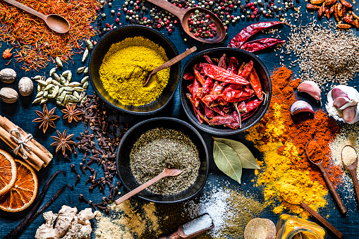 Spice「Various kinds of multicolored spices on a dark grey backdrop」:スマホ壁紙(2)