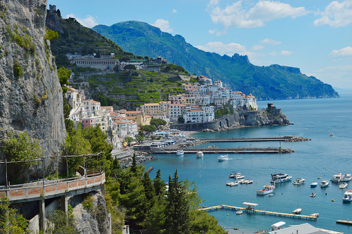 Amalfi Coast「View of Amalfi, Italy by the mountain's side with the ocean」:スマホ壁紙(9)