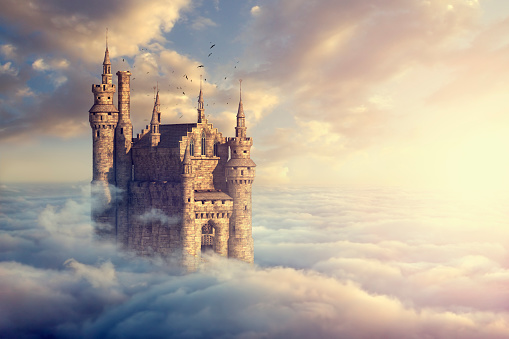 Digital Composite「Birds flying around castle above clouds」:スマホ壁紙(7)