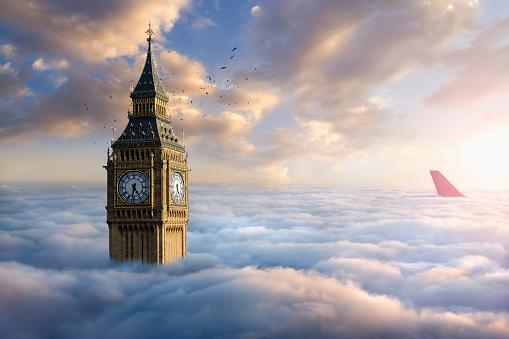 ウェストミンスター宮殿「Birds flying around clock tower near airplane rudder above clouds」:スマホ壁紙(13)