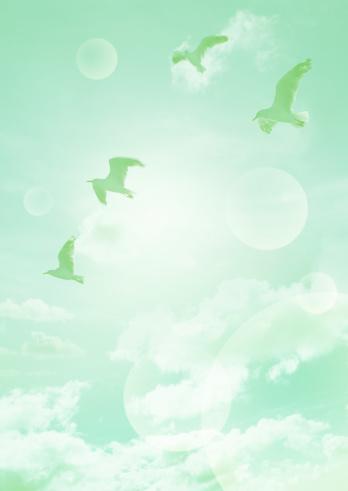 Image processing filter「Birds flying against blue sky」:スマホ壁紙(15)