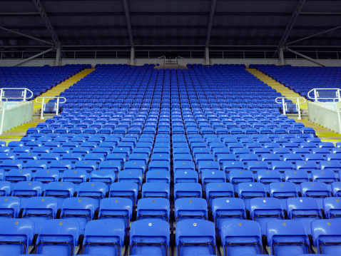 Man Made Structure「Rows of blue seats in stadium」:スマホ壁紙(8)