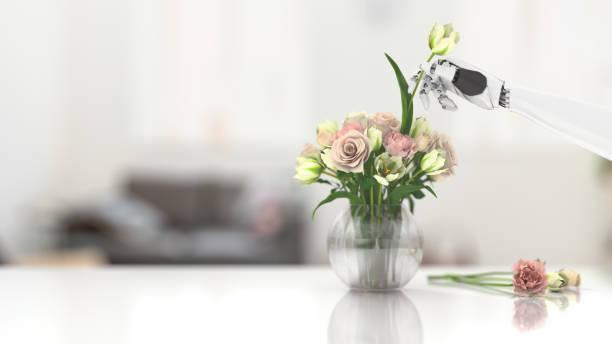 Robot making a bouquet:スマホ壁紙(壁紙.com)