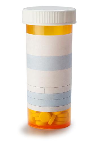 Bottle「Blank prescription medication bottle on white background.」:スマホ壁紙(1)