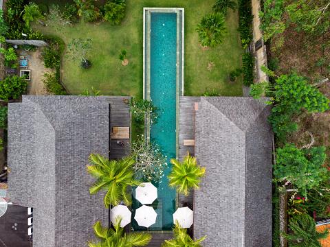 Sri Lanka「Overhead view of empty swimming pool」:スマホ壁紙(1)