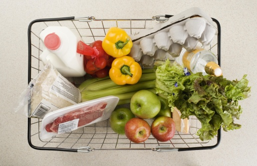 Supermarket「Overhead view of groceries in basket」:スマホ壁紙(11)