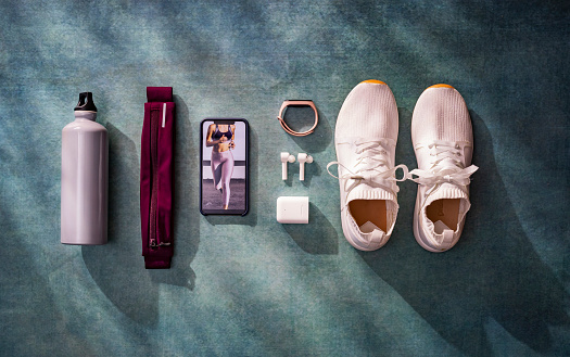 Jogging「Overhead View of Various Fitness/Running Related Objects in a Flat Lay Still Life Composition」:スマホ壁紙(7)