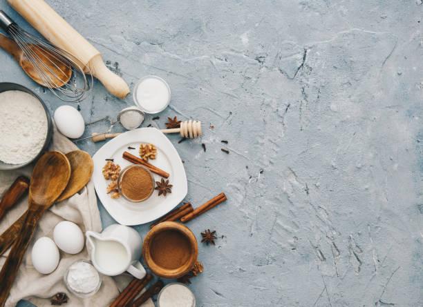 Overhead view of Baking ingredients:スマホ壁紙(壁紙.com)