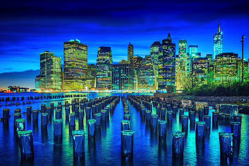 Wooden Post「Lower Manhattan skyline, New York City」:スマホ壁紙(18)